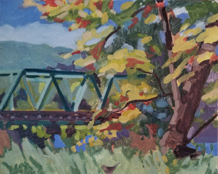 Autumn View of the Frenchtown Bridge, a plein air oil painting by artist Fransciso Silva