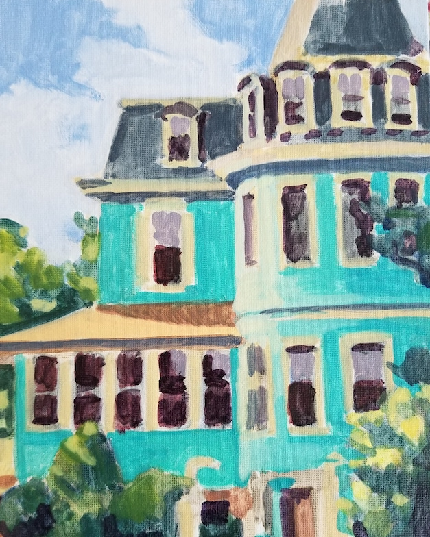 Jackson Street Mansion, a plein air oil painting by artist Fransciso Silva