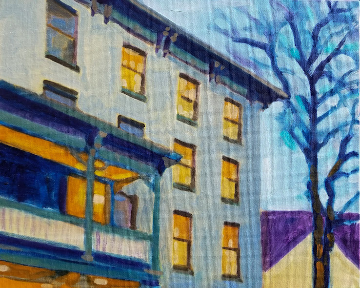 The Lambertville House at Dusk, a plein air oil painting by artist Fransciso Silva